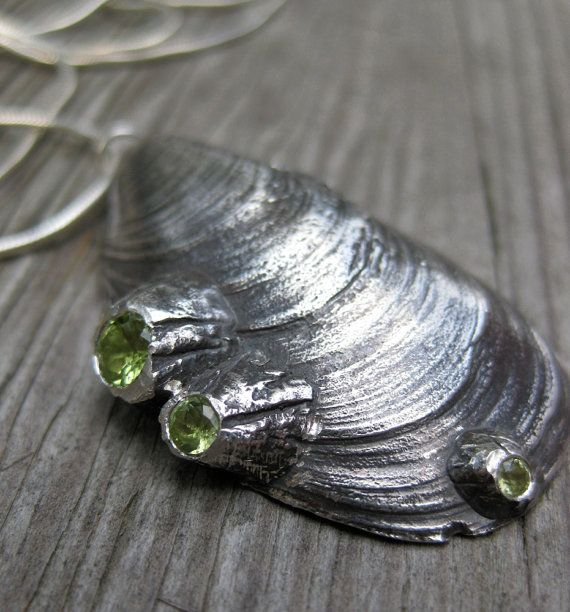 MUSSEL shell  necklace sterling silver barnacles by ballandchain, $250.00