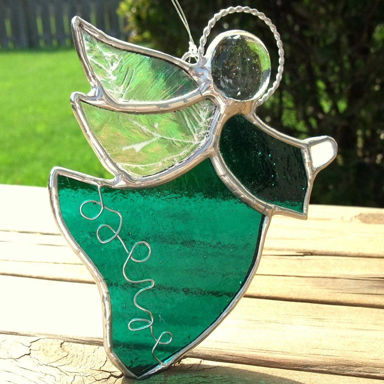 Emerald Green Angel Stained Gl Suncatcher 19 00 Via Etsy