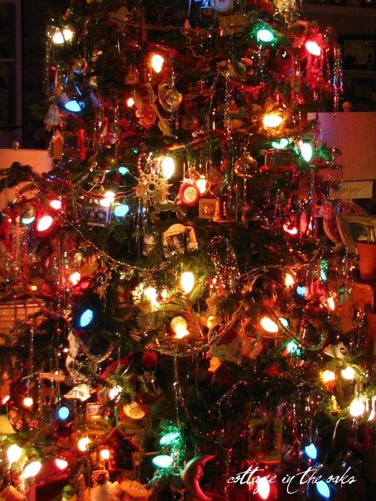 Old Fashioned Christmas Tree Vintage Bulbs Winter