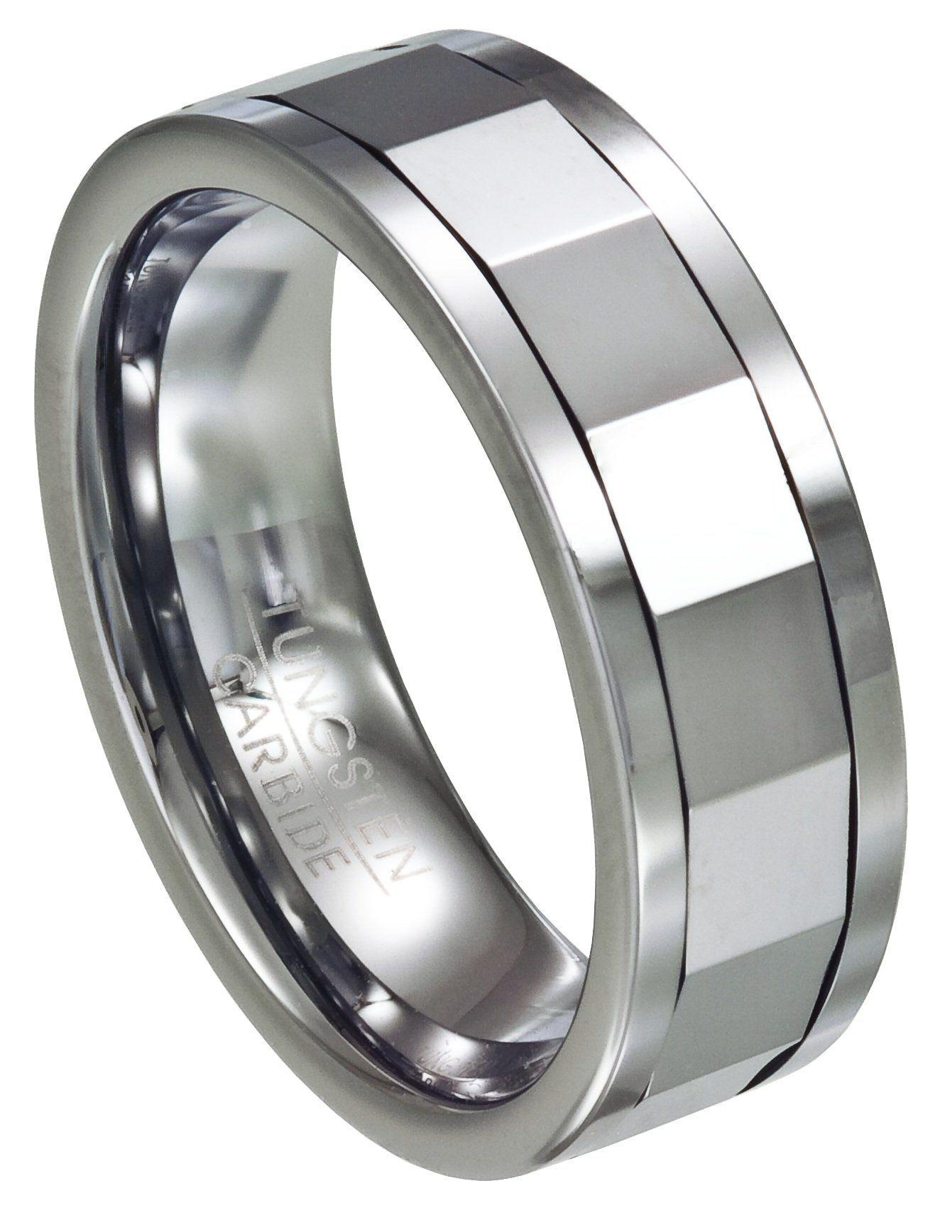 Men's Mirrored Tungsten Spinner Ring 8mm. Tungsten