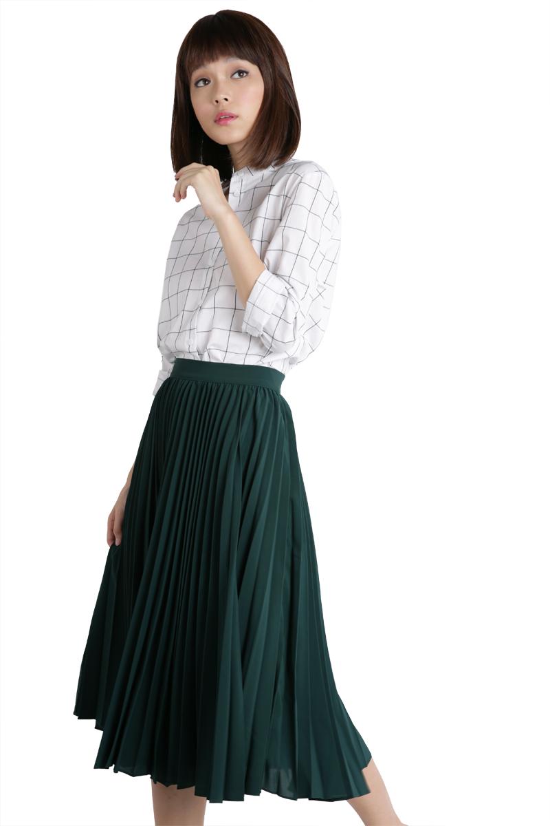 2c05e531f Courtney Pleated Midi Skirt (Forest Green) | Yu's wardrobe | Pleated ...