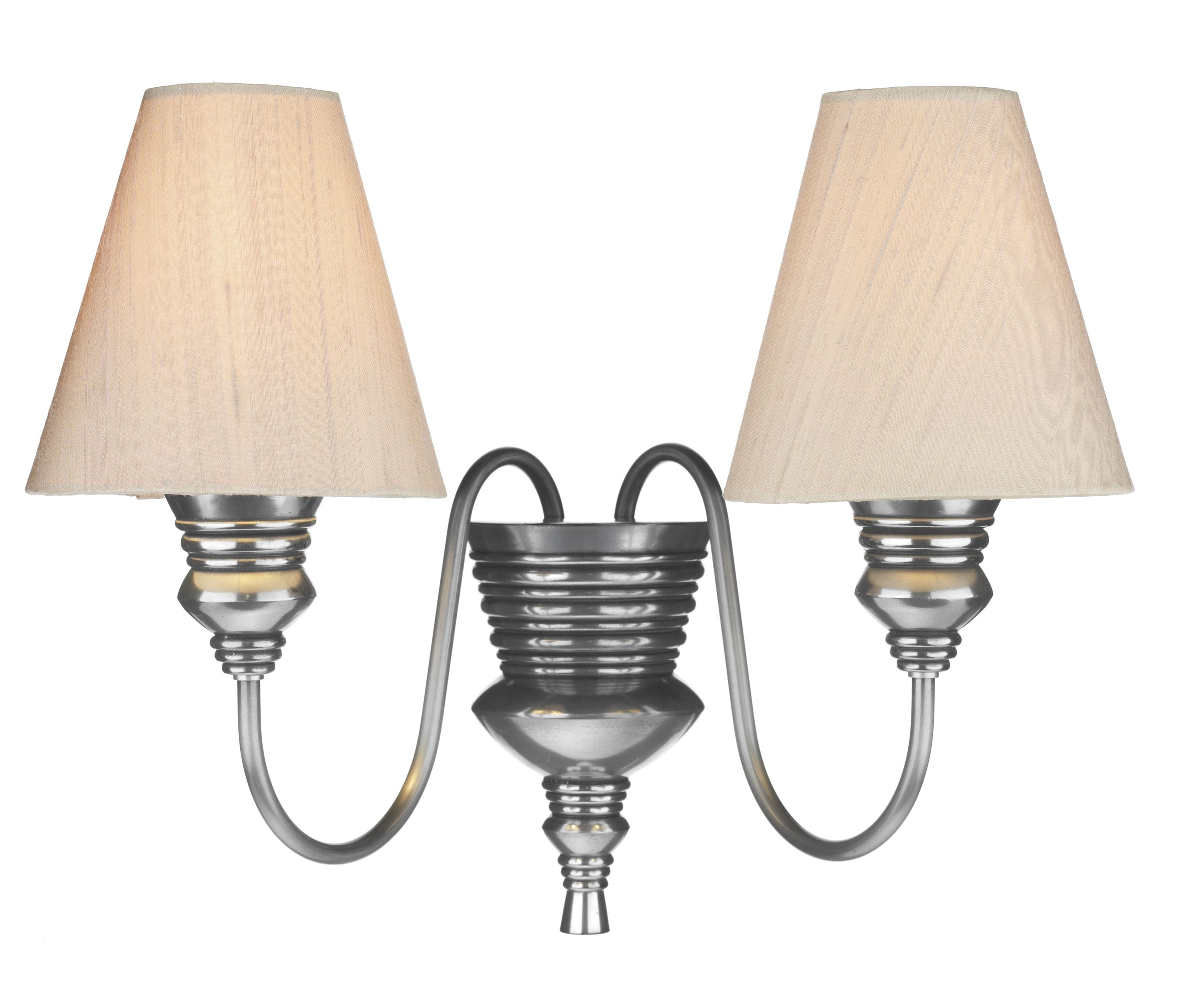 Dor0999 Doreen 2lt Pewter Wall Light Shown With Taupe Silk Shades Available In 12 Silk Colourways Wall Lights Ceiling Lights Wall