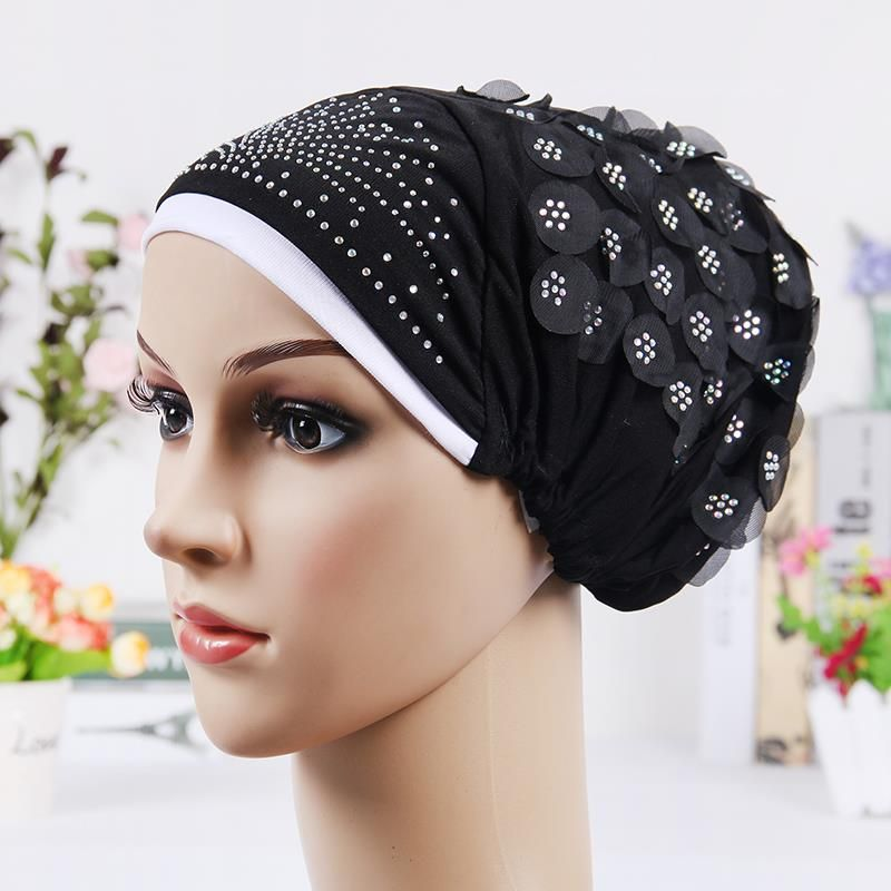 278076a0f87 2016 New Design Islamic Scarves Wraps Hijab caps Womens Muslim Inclusive Cap  Crystal Flower Muslims Hat