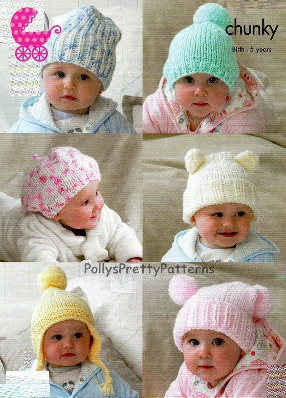 Instant Download Pdf Knitting Pattern 6 Assorted Baby Toddler Hats Slouchy Beanie Beret Teddy Helmet Tea Bag Designs Birth 5 Years In 2020 Baby Hats Knitting Knitted Hats Kids Baby Hat Patterns