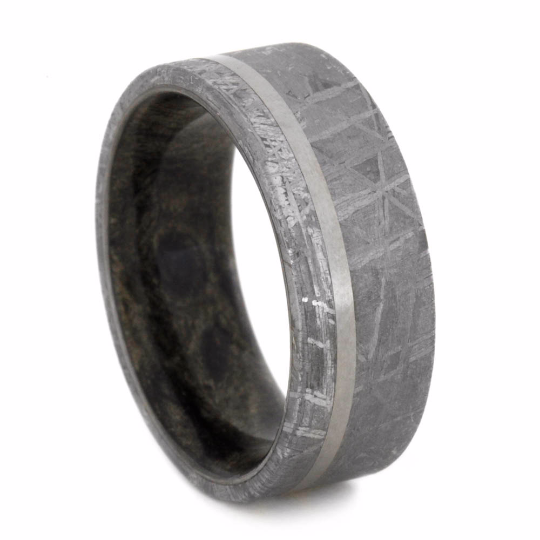 Mens Meteorite Wedding Band With Offset Titanium Pinstripe2073