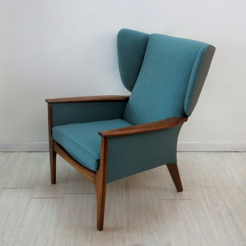Parker Knoll Wingback Armchair In Teak And Fabric 1960s Design Market Couch Upholstery Furniture Upholstery Chair Upholstery