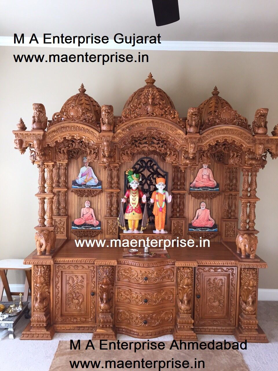 bf215de47d4 Swaminarayan wooden temple mandir for home pooja. To make such designs  contact www.maenterprise.in