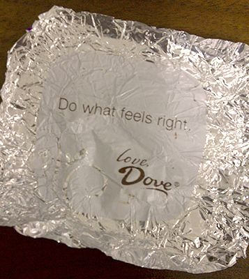A message from my chocolate.