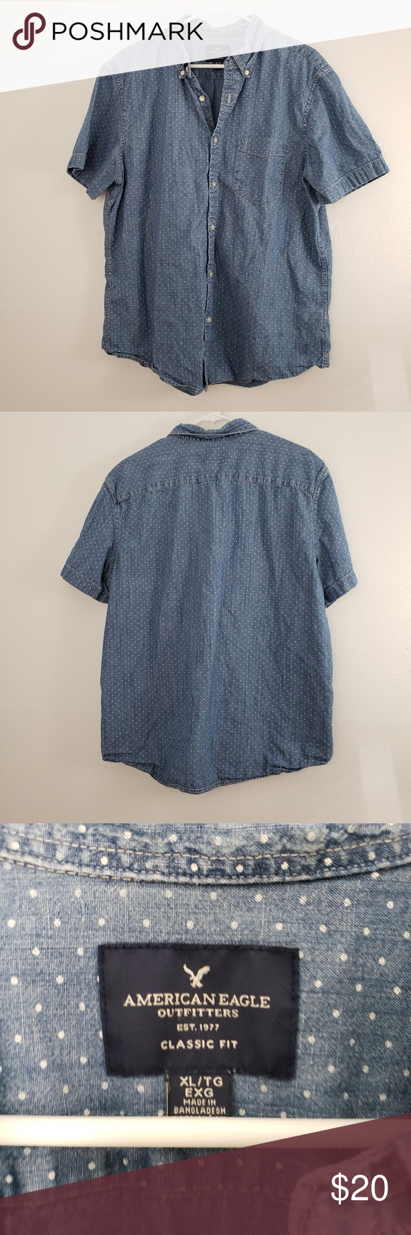 AEO Casual Button Down Short Sleeve Shirt Gently used  Brand: American Eagle Outfitters  Size: XL  Color: Blue with white polka dot  No measurements if you need measurements please leave me a comment.  Item bagged in a waterproof bag and ready to be shipped.  09/26/2019 American Eagle Outfitters Shirts Casual Button Down Shirts