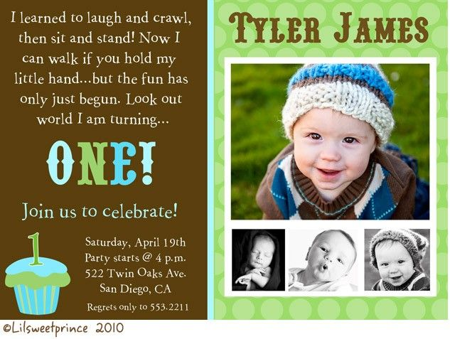 boy 1st birthday idea | brown and green cupcake birthday boy, Birthday invitations