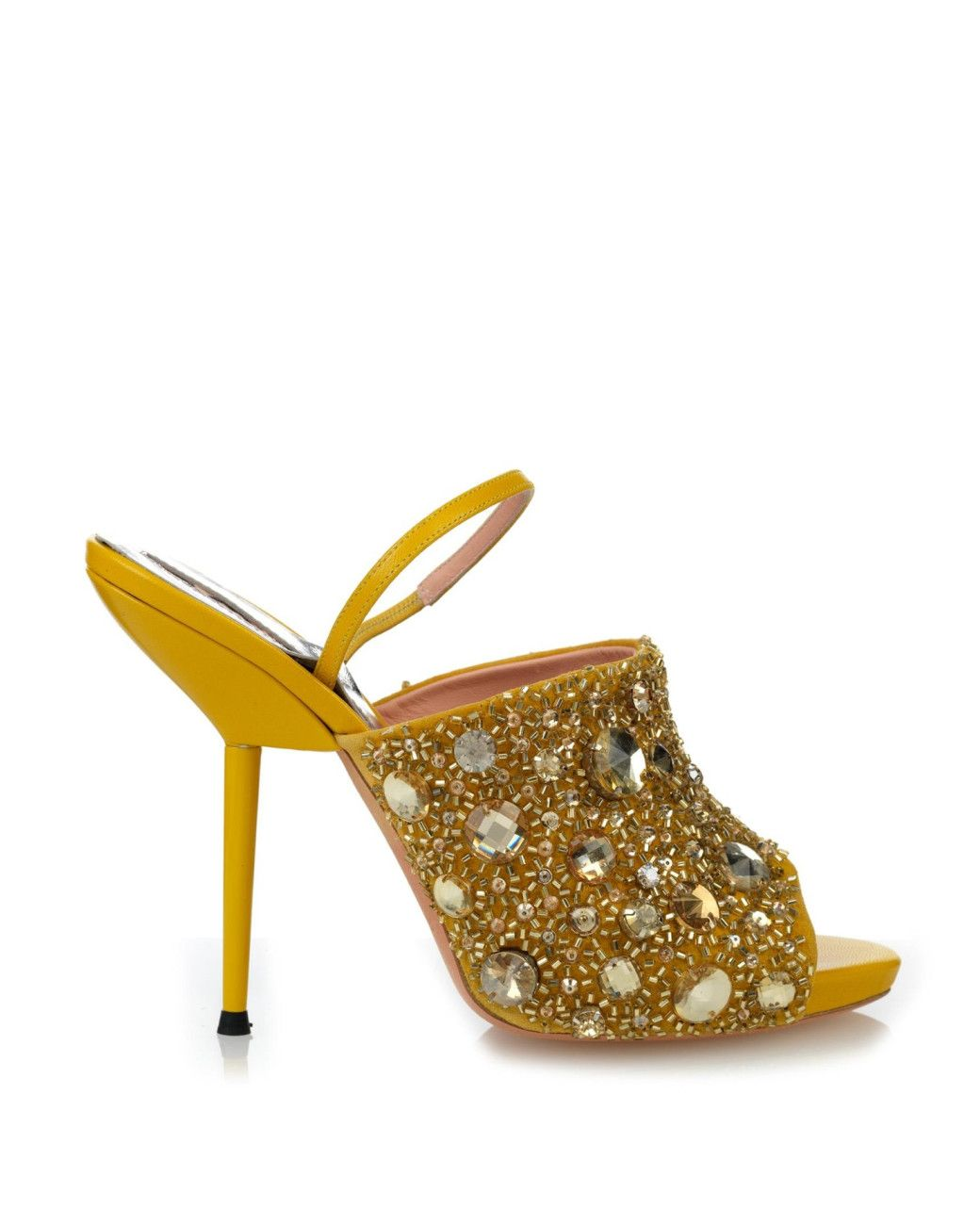 a8391ddde3be Women s Yellow Crystal-embellished Leather Sandals