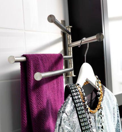 Gros plan sur grundtal porte serviettes avec 4 bras ikea for Porte serviettes ikea grundtal