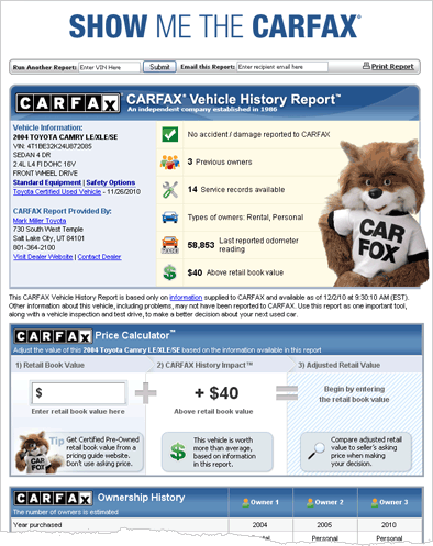 Sample Carfax Report Projects To Try Toyota Cars Used Toyota