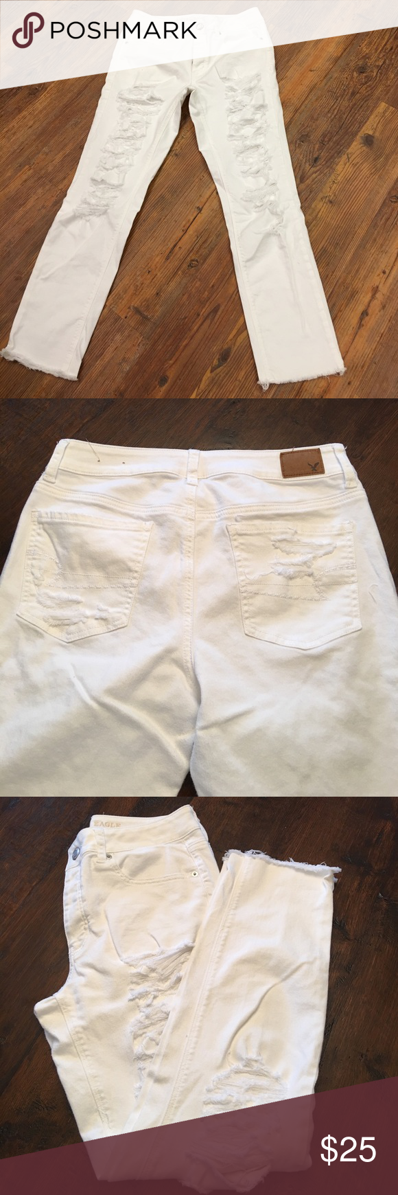 American Eagle TomGirl size 8 jeans American Eagle TomGirl size 8 white jeans. Stretch. 4 button fly. Rise approx. 9.5 Inseam approx 27. Made in China. 98% cotton, 2% elastase. American Eagle Outfitters Jeans Skinny