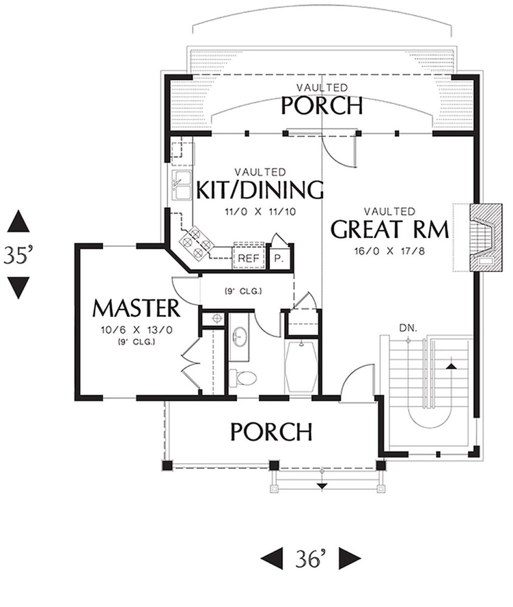 Cottage Style House Plan - 3 Beds 2 Baths 1405 Sq/Ft Plan #48-238