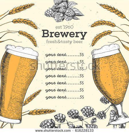 Colorful beer menu design template Engraved illustration with