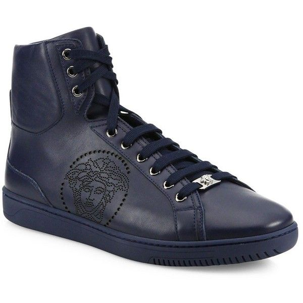 Versace Perforated Medusa Leather Hi-Top Sneakers : Versace Shoes ($755) ❤  liked