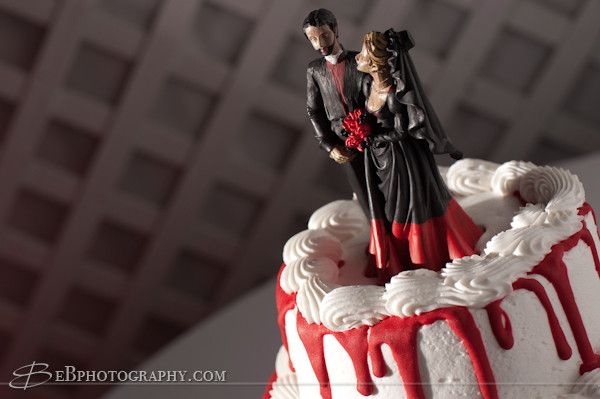 Custom Red Black Painted Goth Rock Offbeat Wedding Cake Topper