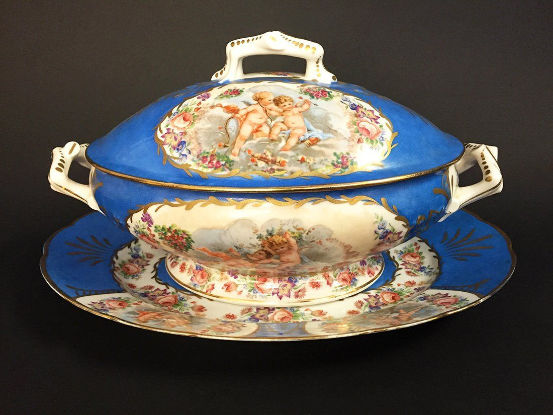 French Sevres Porcelain Tureen & Underplate : Lot 480