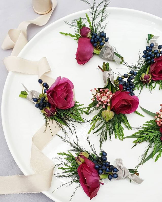 Bridal Shoes Auckland New Zealand: Textural Burgundy Buttonholes With Navy Berries Flowers By