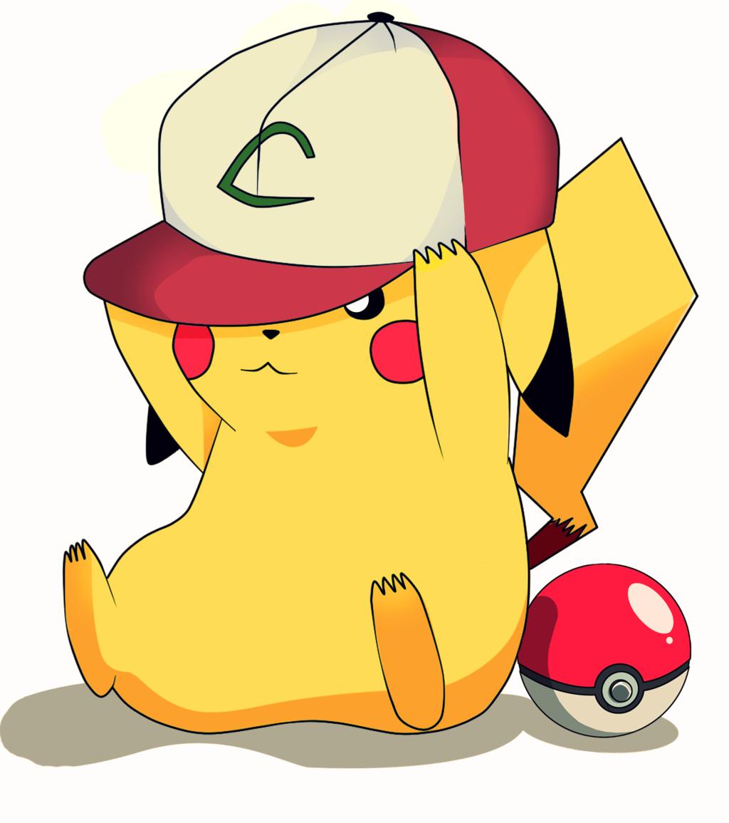 Pikachu con la gorra de Ash y una Pokeball  505d92902e7