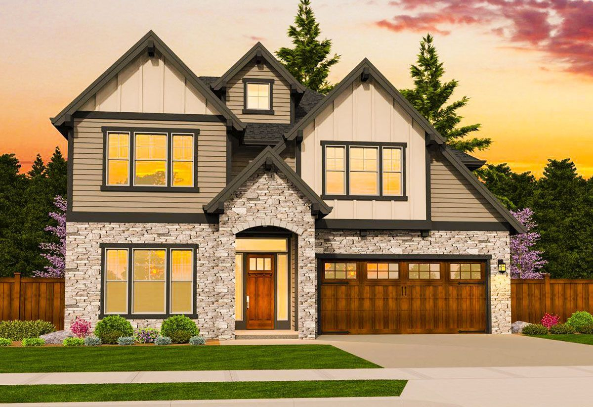 Craftsman with first floor master ms architectural designs