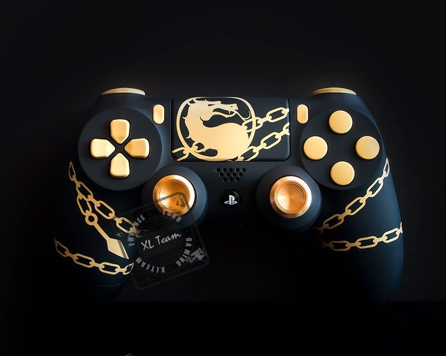 Custom Playstation 4 Ps4 Dualshock 4 Controller Mortal Kombat Scorpion Controle De Videogame Xbox Ideias Para Personagens