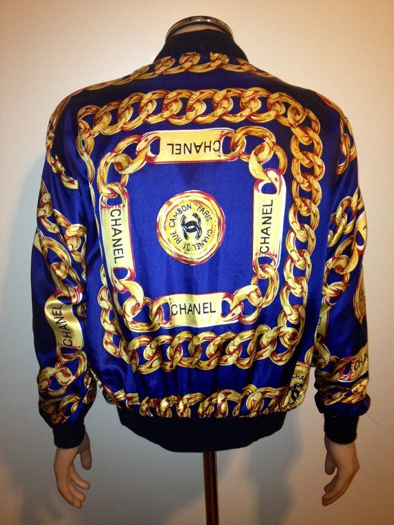Vintage 90s Chanel Caviar Silk Bomber Chains Jacket By