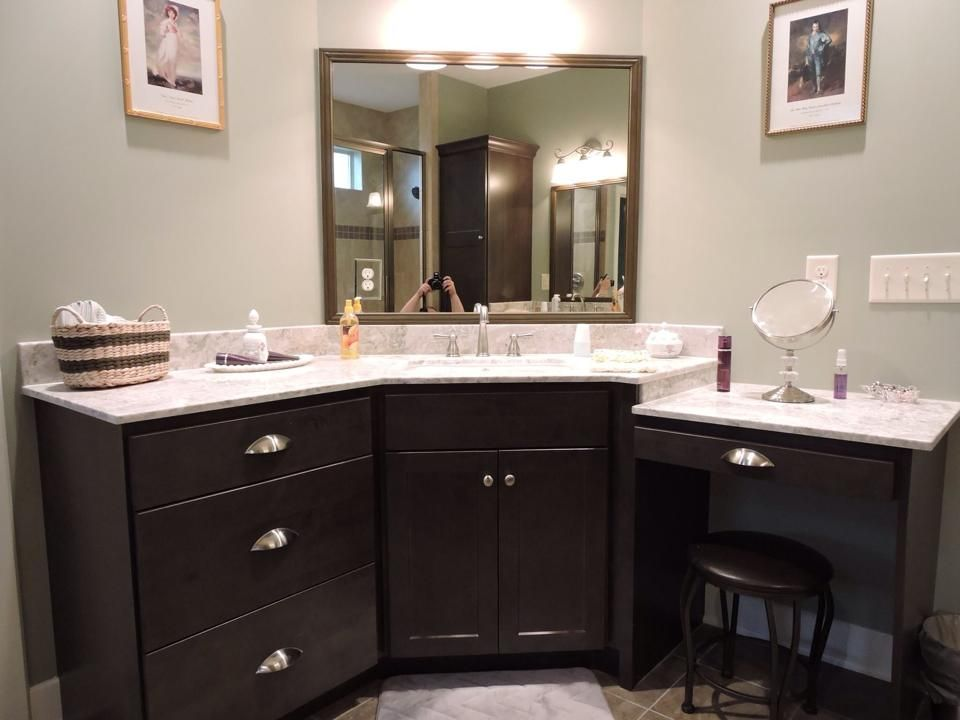 Merveilleux Bath   HomeCrest Cabinets, Maple Buckboard, Vanity Top Is Cultured Marble  Aruba, Undermount