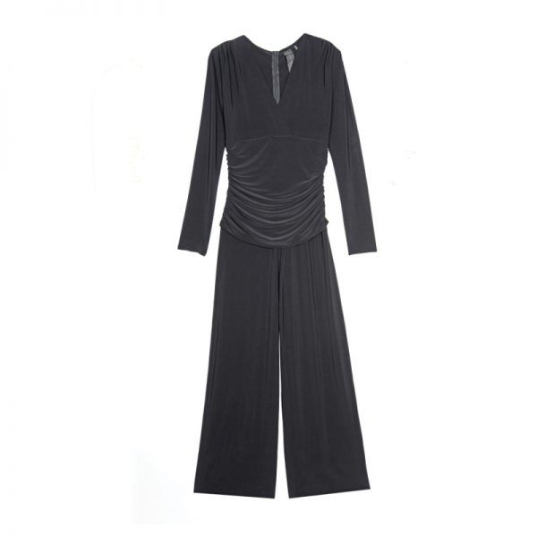 """- """"Who doesn't love a jumpsuit? This one is so versatile—you can pair it with a sexy heel for date night, or a sneaker for a more casual look.""""Norma Kamali Women's V-Neck Long Sleeve Shirred Waist Jumpsuit, $175"""
