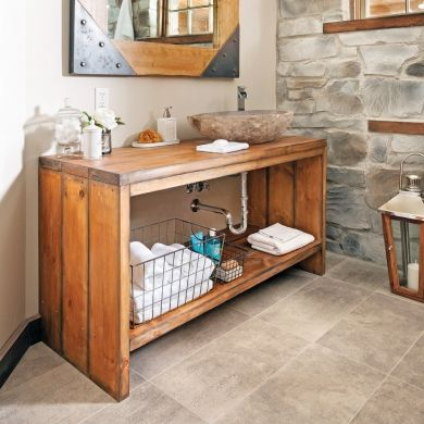 Créer un meuble-lavabo en bois - En étapes - Décoration et