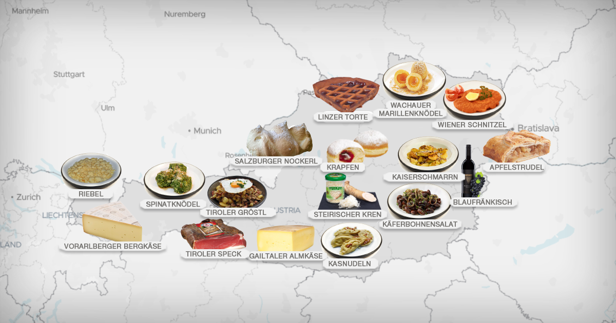 Food Map Of Austria 101 Traditional Dishes And Food Products Austrian Recipes Food Map Food