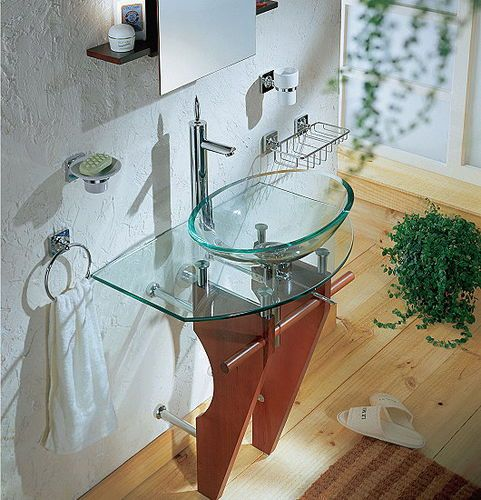 glass washbasin stand / wooden | Wash basin, Wooden, Glass