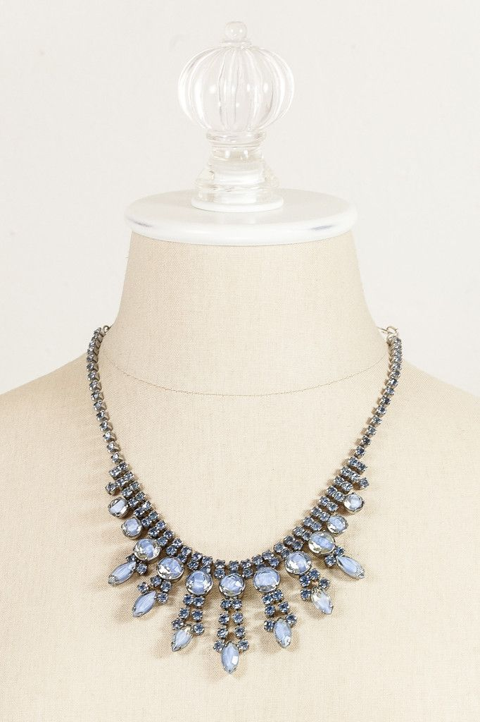 0e3240e30 Blue rhinestone statement necklace for summer event! Click through to shop vintage  jewelry from the 1950s, 60s, 70s, 80s, 90s at Sweet&Spark!