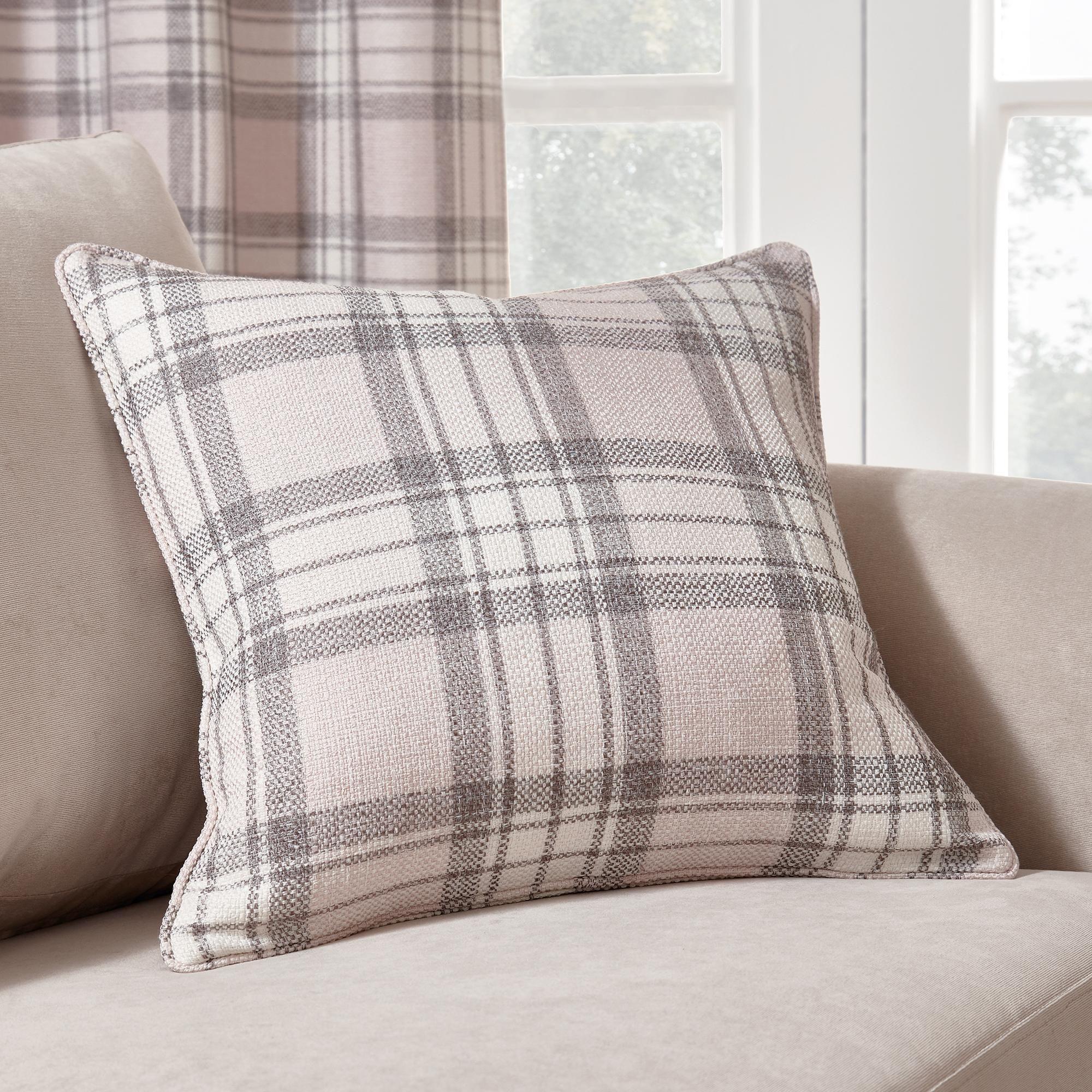 Dunelm Check Pink And Grey Fyfe 45x45cm Cushion Pink And Grey Curtains Grey Eyelet Curtains Pink Grey