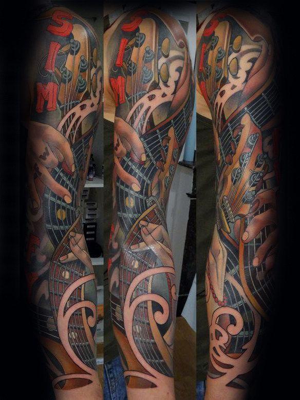60 Music Sleeve Tattoos For Men Lyrical Ink Design Ideas Tattoos