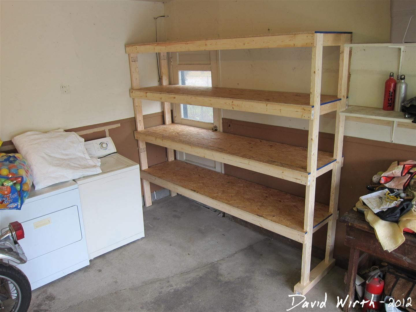 Heavy duty 2x3 and 2x4 storage units with plywood shelves