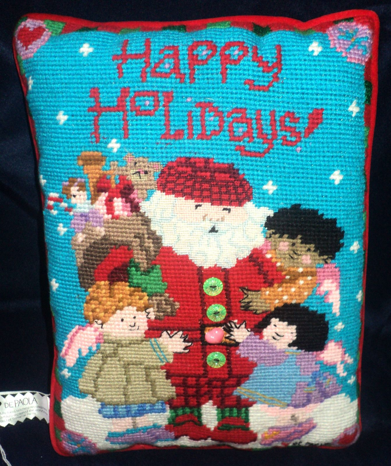 """Country Angel Christmas """"Happy Holidays"""" Needlepoint Pillow ..."""