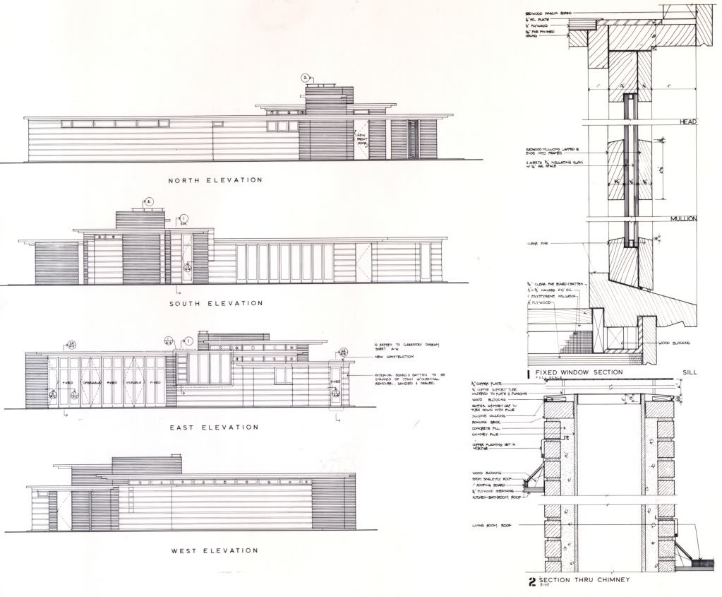 Elevations and wall section herbert jacobs house i for Frank lloyd wright floor plans