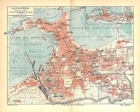 Alexandria City Plan Vintage Map Egypt 1920s by carambas on Etsy