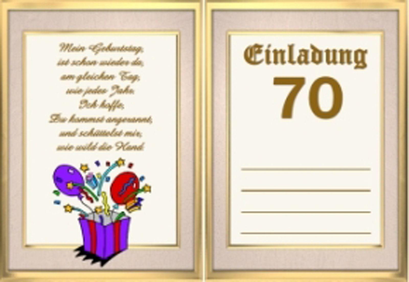 Einladungen 70 Geburtstag Vorlagen Kostenlos In 2020 Einladung