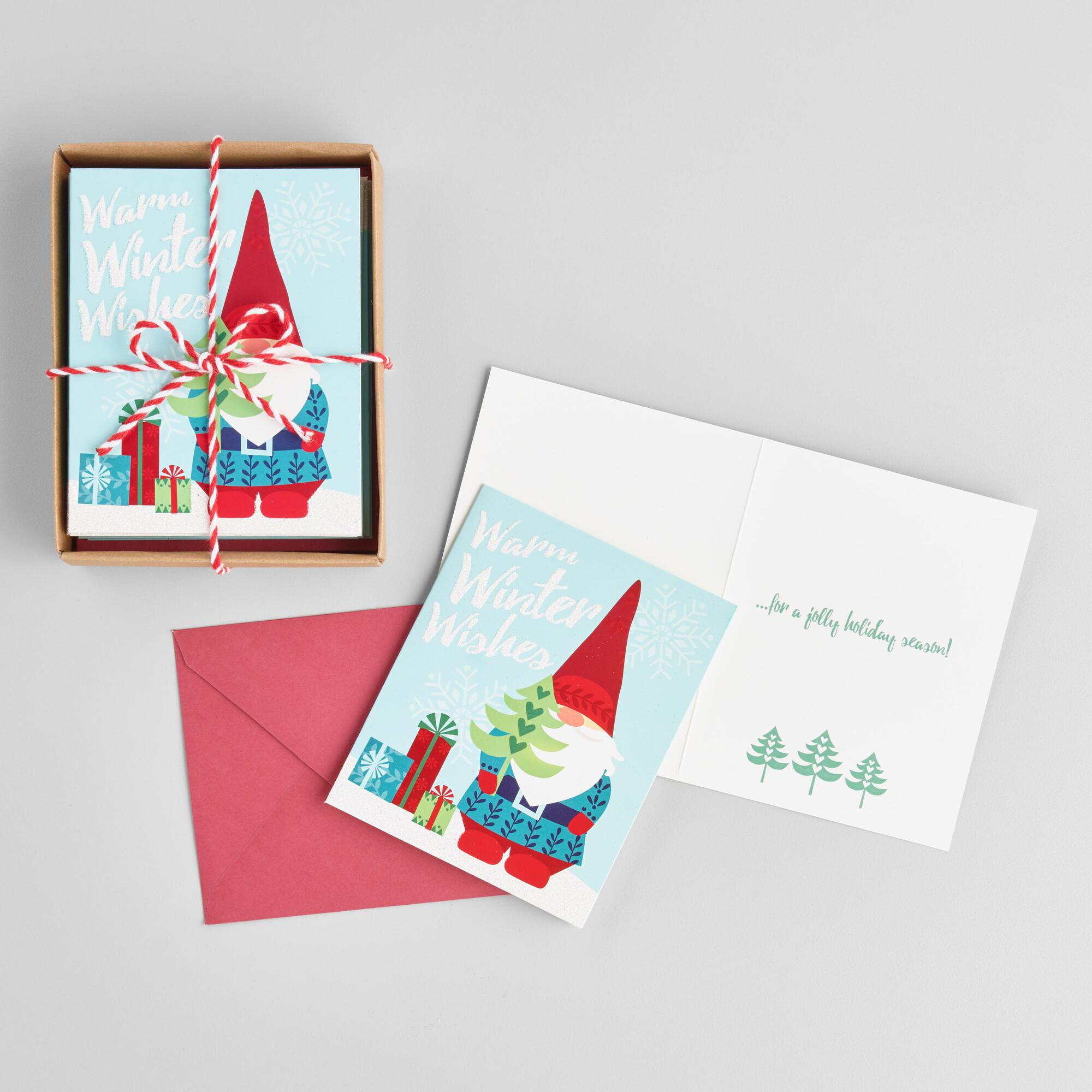 Boxed Christmas Cards.Gnome Warm Winter Wishes Boxed Holiday Cards Set Of 15 By