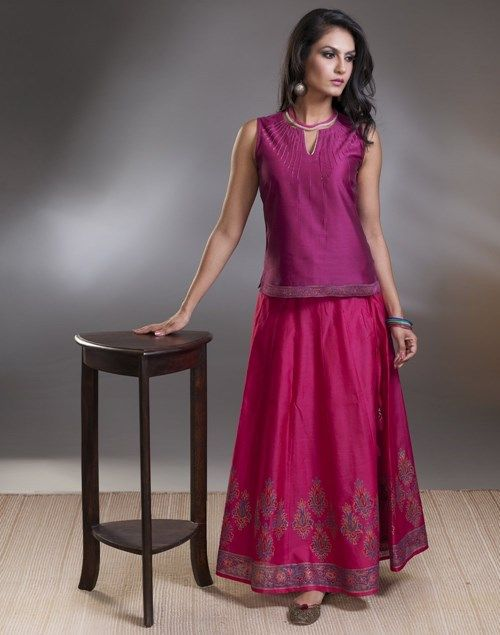 fcd7ba8537 Silk Cotton Zari Top Stitch Skirt Set Long Skirt And Top, Sari Blouse,  Cotton