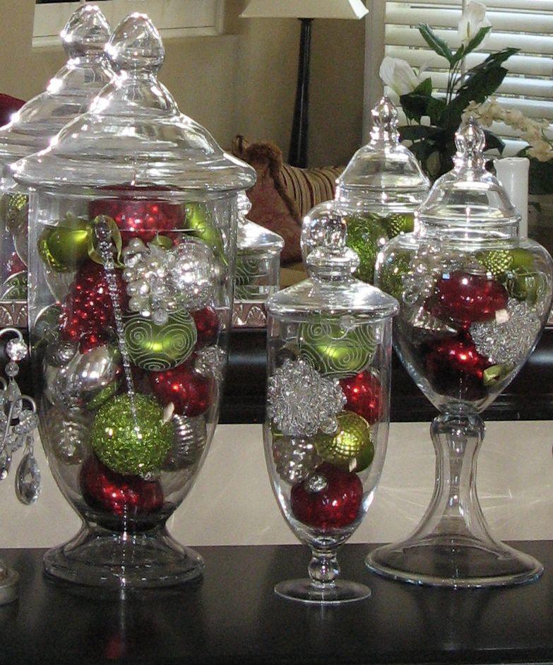 Apothecary Jars Filler Ideas Christmas Jars Christmas Centerpieces Christmas Decorations