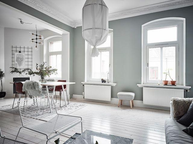 Muri Interni Grigi : Appartamento scandinavo con pareti grigio verde arc art blog by