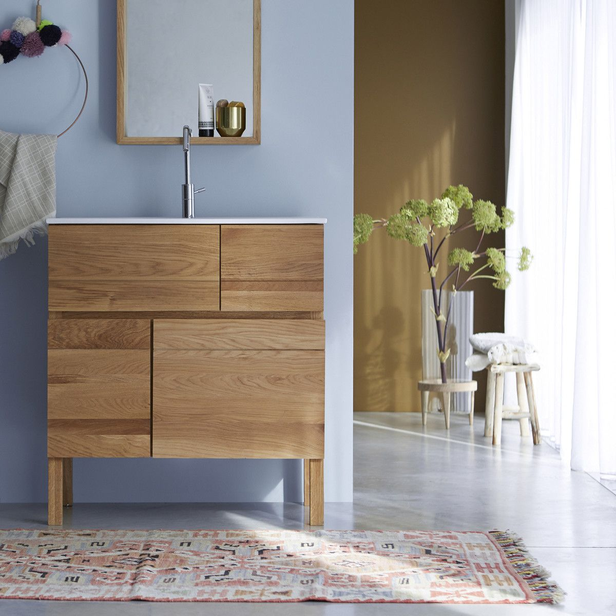 Photo of Easy Oak and Ceramic Vanity Cabinet 80