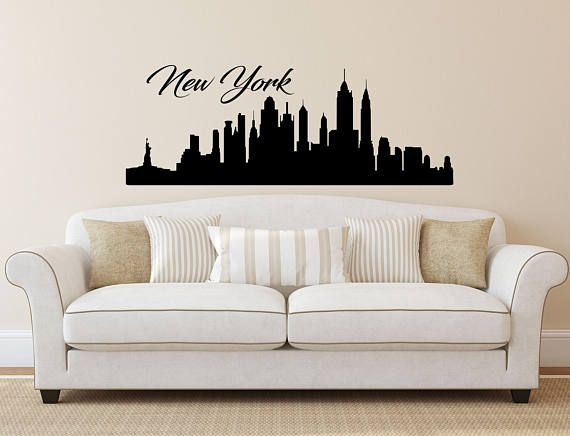 New York Skyline Wall Decal Vinyl Sticker City Silhouette Nyc Decals Stickers Home Decor Living Room Office Bedroom Art C658