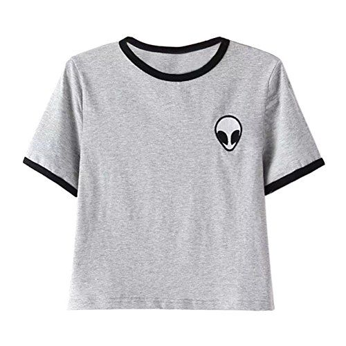 789f83791b7fd Grey crop top · ROPALIA Women Short Sleeve Tee Loose Print Blouse Casual .  ...