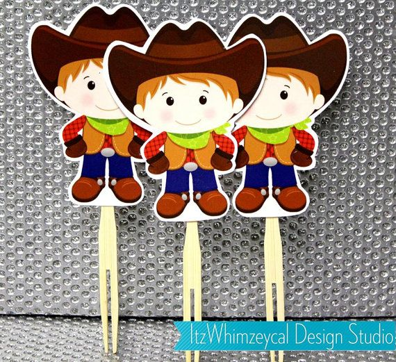 Cowboy Die Cut Cupcake Topper One Dozen by itzwhimzeycal on Etsy, $9.00