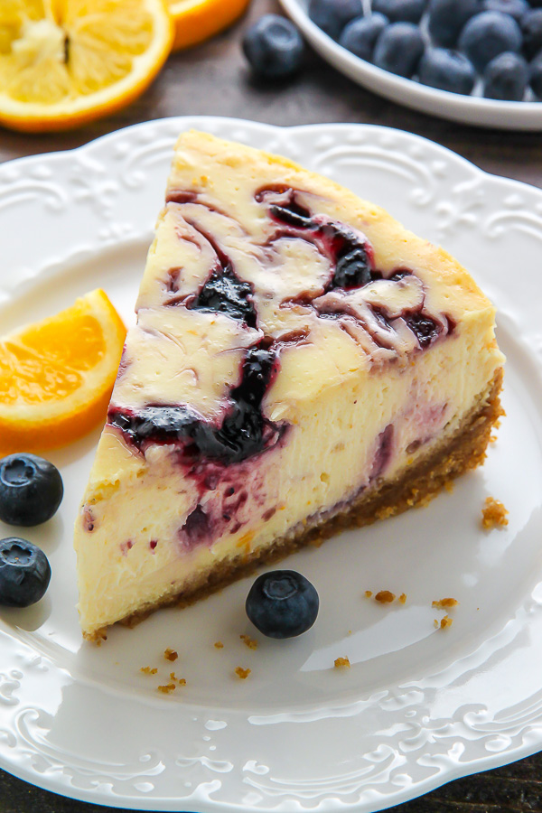 Lemon Blueberry Swirl Cheesecake - Baker by Nature